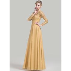 Vestidos princesa/ Formato A Decote V Longos tecido de seda Vestido para a mãe da noiva com Pregueado (008085289)