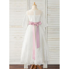Corte A Longuete Vestidos de Menina das Flores - Cetim/Tule/Renda Manga comprida Decote redondo com Cintos (Faixa destacável) (010183528)