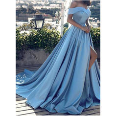 A-Line/Princess Court Train Prom Dresses Off-the-Shoulder Satin Sleeveless (018145556)