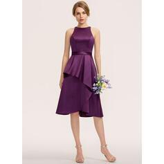 Corte A Decote redondo Assimétrico Cetim Vestido de madrinha (007190707)
