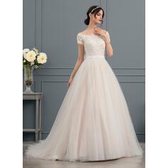 De baile Off-the-ombro Cauda longa Tule Vestido de noiva com Beading Apliques de Renda lantejoulas Curvado (002145295)
