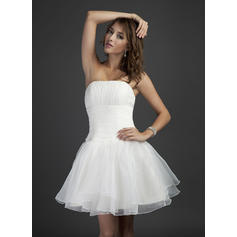 A-Line/Princess Organza Bridesmaid Dresses Ruffle Strapless Sleeveless Short/Mini (007051839)