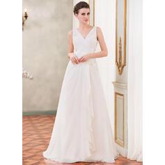 Forme Princesse Col V Traîne moyenne Mousseline Robe de mariée avec Brodé Motifs appliqués Dentelle Paillettes Robe à volants