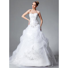 Ball-Gown Sweetheart Chapel Train Wedding Dresses With Ruffle Beading Sequins (002004178)