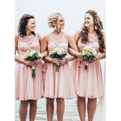 Chiffon Lace Sleeveless A-Line/Princess Bridesmaid Dresses Scoop Neck Knee-Length