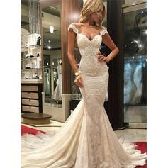 Sweetheart Trumpet/Mermaid Wedding Dresses Tulle Lace Sleeveless Chapel Train (002144841)