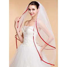 Waltz Bridal Veils Tulle Two-tier Classic With Ribbon Edge Wedding Veils