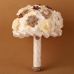 "Bridal Bouquets Round Wedding Satin/Ribbon 11.42""(Approx.29cm) Wedding Flowers"