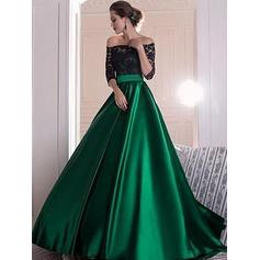 Luxurious Satin Prom Dresses Ball-Gown Sweep Train Off-the-Shoulder 1/2 Sleeves