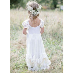 Modern Scoop Neck A-Line/Princess Flower Girl Dresses Floor-length Chiffon/Lace Sleeveless