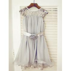 Simple Tea-length A-Line/Princess Flower Girl Dresses Scoop Neck Chiffon/Tulle/Lace Sleeveless