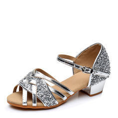 Women's Latin Heels Leatherette Sparkling Glitter Dance Shoes