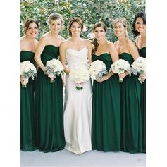 A-Line/Princess Sleeveless Sweetheart Chiffon Bridesmaid Dresses
