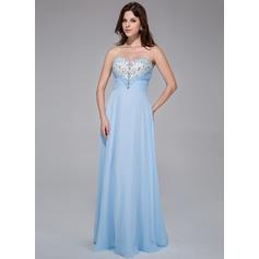 Hasta el suelo Gasa Corte A/Princesa Novio Vestidos de baile de promoción (018025518)