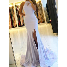 Jersey Sleeveless Sheath/Column Prom Dresses Halter Ruffle Sweep Train