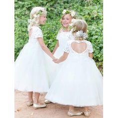 Stunning Scoop Neck Ball Gown Flower Girl Dresses Ankle-length Tulle/Lace Short Sleeves (010145203)