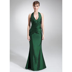 Trumpet/Mermaid Taffeta Bridesmaid Dresses Ruffle Halter Sleeveless Floor-Length (007000875)