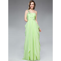 Gasa Tirantes comunes Un hombro Vestido tubo Vestidos de baile de promoción (018047256)
