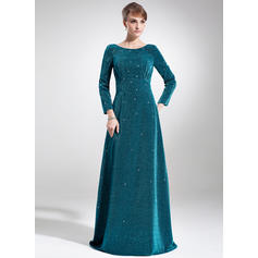 Empire Velvet Long Sleeves Scoop Neck Sweep Train Zipper Up Mother of the Bride Dresses (008005916)