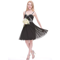 Ruffle Beading Appliques Sequins Sweetheart With Chiffon Bridesmaid Dresses (007075623)