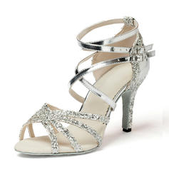 Women's Latin Heels Sandals Leatherette Sparkling Glitter Dance Shoes