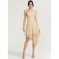 A-Line One-Shoulder Asymmetrical Lace Cocktail Dress