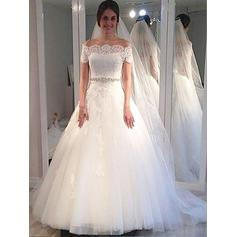Tulle Ball-Gown Sweep Train Off-The-Shoulder Wedding Dresses Sleeveless