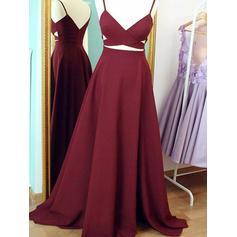 Sleeveless A-Line/Princess Prom Dresses V-neck Ruffle Sweep Train