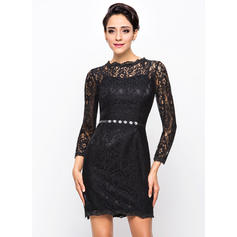 Sheath/Column Scoop Neck Short/Mini Cocktail Dresses With Beading (016210586)
