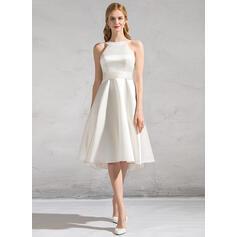 Corte A Decote redondo Coquetel Cetim Vestido de noiva com Pregueado Curvado (002083686)
