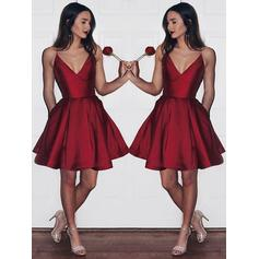 A-Line/Princess V-neck Satin Sleeveless Knee-Length Ruffle Homecoming Dresses