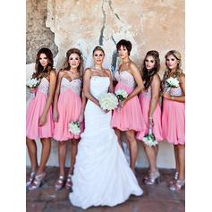 Chiffon Sleeveless A-Line/Princess Bridesmaid Dresses Sweetheart Appliques Lace Short/Mini