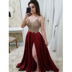A-Line/Princess Satin Prom Dresses Flattering Floor-Length V-neck Sleeveless