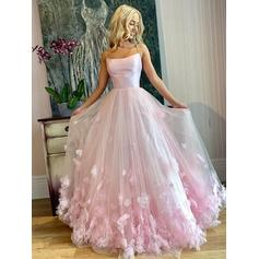 Floor-Length Spaghetti Straps Tulle A-Line/Princess Prom Dresses