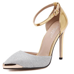 Women's Closed Toe Pumps Sandals Stiletto Heel Leatherette With Buckle Sparkling Glitter Wedding Shoes