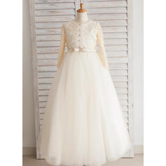 Gorgeous Floor-length Ball Gown Flower Girl Dresses Scoop Neck Satin/Tulle/Lace/Cotton Long Sleeves
