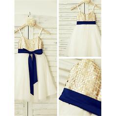 Straps A-Line/Princess Flower Girl Dresses Tulle/Sequined Sash Sleeveless Tea-length