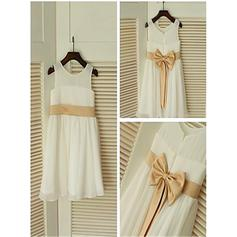 Scoop Neck A-Line/Princess Flower Girl Dresses Chiffon Bow(s) Sleeveless Tea-length (010211955)