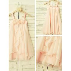 Scoop Neck A-Line/Princess Flower Girl Dresses Chiffon Ruffles Sleeveless Tea-length