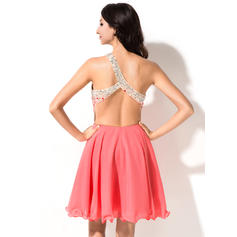 Simples Tecido de seda Sem magas Um ombro Beading lantejoulas Vestidos de boas vindas (022214021)