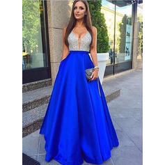 Stunning Satin A-Line/Princess Satin V-neck Prom Dresses