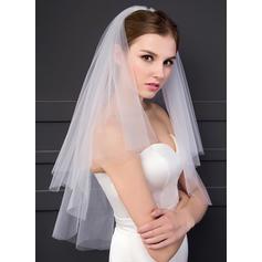 Ellenbogen Braut Schleier Zweischichtig Klassische Art mit Schnittkante 59.06 in (150cm) Brautschleier