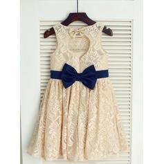 Escote redondo Corte A/Princesa Vestidos para niña de arras Encaje Fajas/Lazo(s) Sin mangas Hasta la rodilla (010211841)
