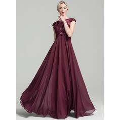 Corte A Decote redondo Longos Tecido de seda Vestido para a mãe da noiva com Pregueado Beading Apliques de Renda lantejoulas (008091930)