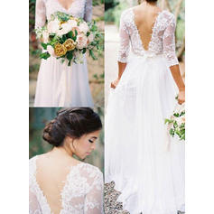 Princess Floor-Length A-Line/Princess Wedding Dresses V-neck Chiffon Half Sleeves