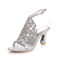 Women's Sandals Slingbacks Chunky Heel Leatherette With Rhinestone Wedding Shoes