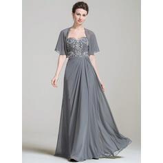 A-Linie/Princess-Linie Schatz Chiffon Ärmellos Bodenlang Rüschen Spitze Perlstickerei Pailletten Kleider für die Brautmutter