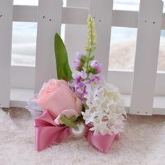 Lovely Satiini/PE/Jäljitelmä Helmi/Silk pellava Ranne kukkakimppu
