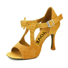 Women's Latin Heels Sandals Pumps Suede Dance Shoes