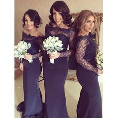 Sheath/Column Satin Lace Bridesmaid Dresses Off-the-Shoulder Long Sleeves Sweep Train (007145014)